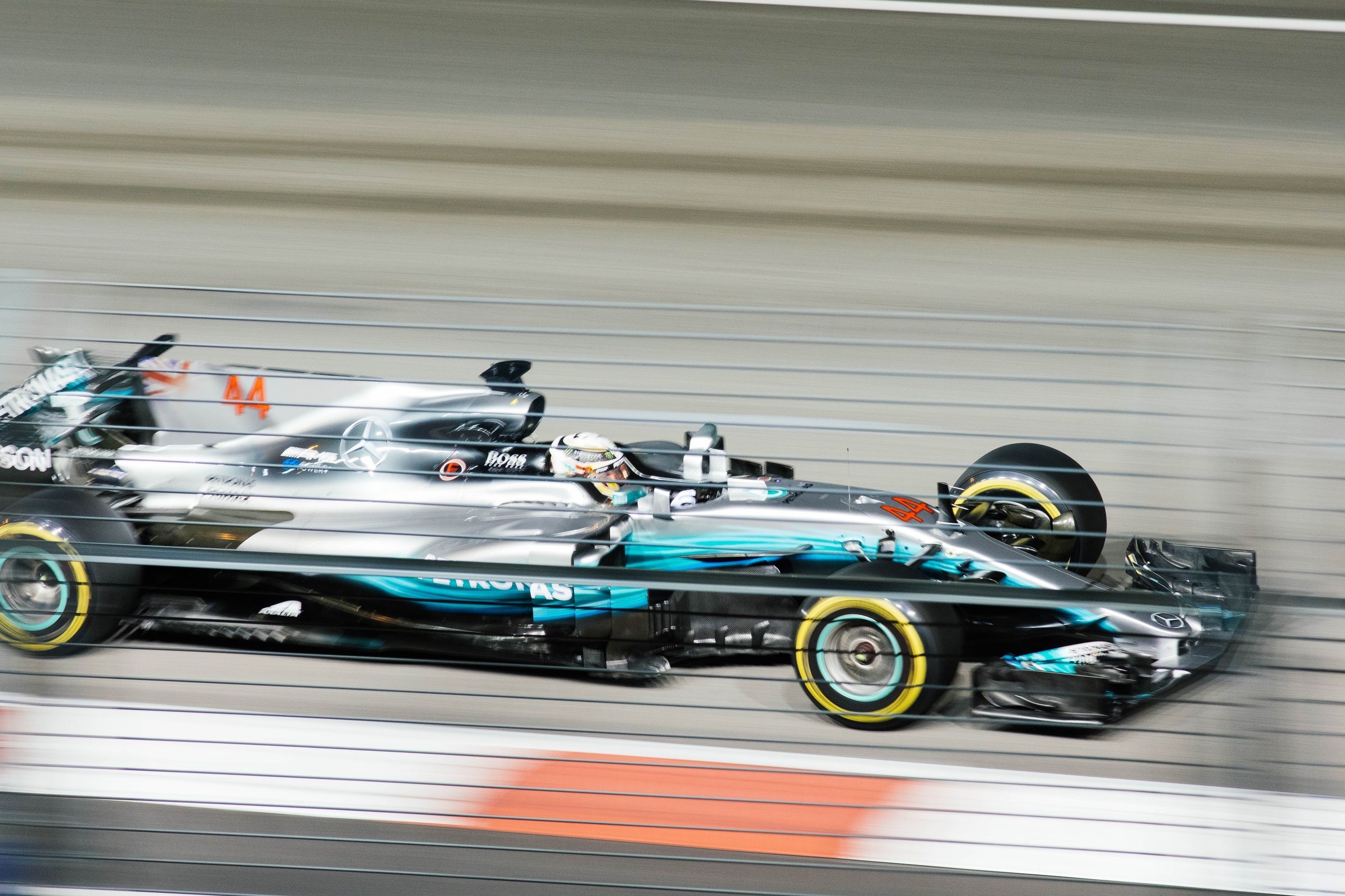 Racecar in motion